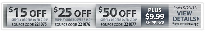 $15 off supply orders over $100!