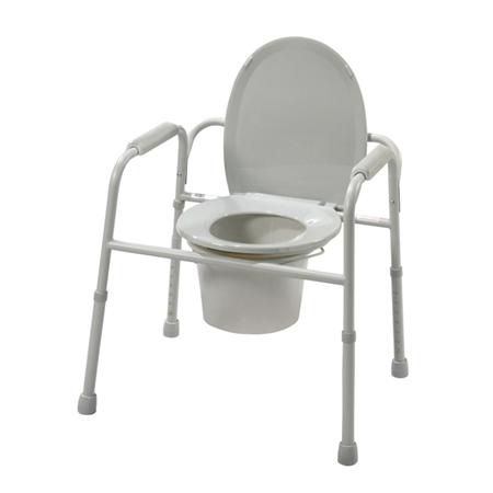Deluxe All In One Steel Commode W/Plastic Armrests