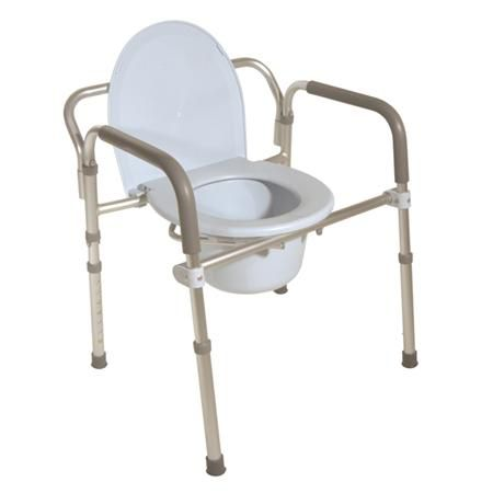 Drive Folding Aluminum Commode W/Padded Armrests