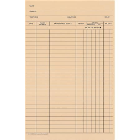 Stock Accu-Log Ledger Card Blank, 100/Pkg - Chiropractic Forms ...