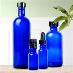 Glass Bottle With Cap Cobalt Blue 1/2 Oz