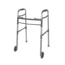 "Universal Deluxe Folding Walker, Two Button 5""Wheel"