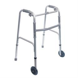 Single Release Aluminum Folding Walker W/3' Wheels