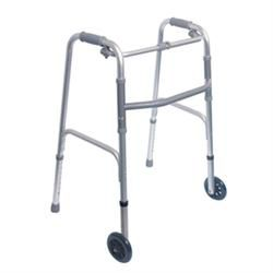 Single Release Aluminum Folding Walker, 5' Wheels