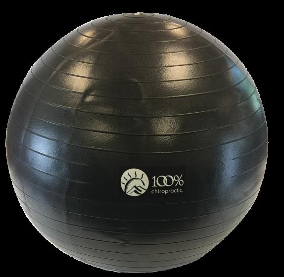100% Chiropractic 65cm Exercise Ball Black