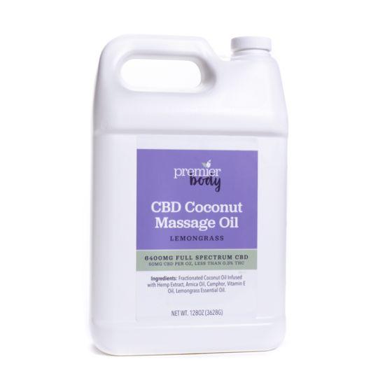 Premier Body CBD Coconut Massage Oil with Lemongrass – 1 Gallon, Full Spectrum