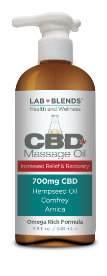 Lab+Blends® 700 mg CBD Massage Oil 11.8 oz By BIOTONE® - Pain Relief for Sore Joints & Aching Muscles