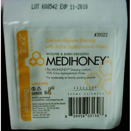 """MEDIHONEY® Calcium Alginate Dressing with Active Leptospermum Honey – 2"""" x 2"""" Box/10"""