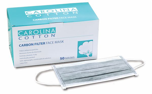 Carolina Cotton® Carbon Filter Face Mask 50 Pack