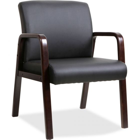 Lorell Black Leather Wood Frame Guest Chair Espresso
