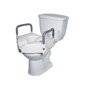 2 in 1 Locking Elevated Toilet Seat with Tool Free Removable Arms