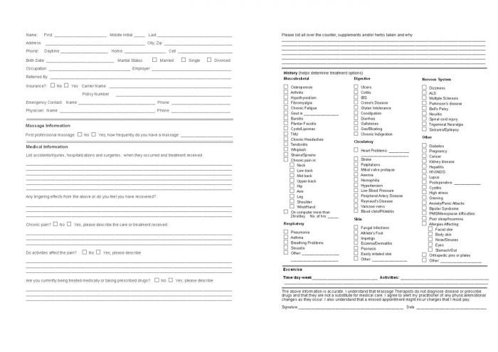 Client Intake Form Pack Of 100