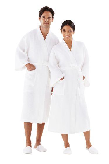 Lite Waffle Weave Kimono Robe Osfm-White
