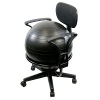"""CanDo Ball Chair - Metal - Mobile - with Back - with Arms - with 22"""" Black Ball"""