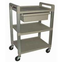 Poly 3 Shelf Cart W/Drawer And Power Strip