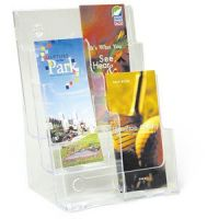 "Clear Lucite Multi-Pocket Rack - 6 Pockets Holds 4""X9"" Brochures"