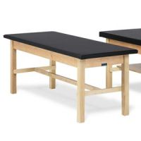"Bailey Basic Treatment Table With H-Brace and 1"" Black Upholstered Top"
